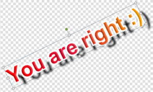 A text watermark with a gradient brush, a white stroke and light drop shadow