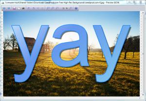 """""""Yay"""" über einem hochauflösenden Foto"""