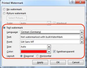 Ein benutzerdefiniertes Text Wasserzeichen in Word