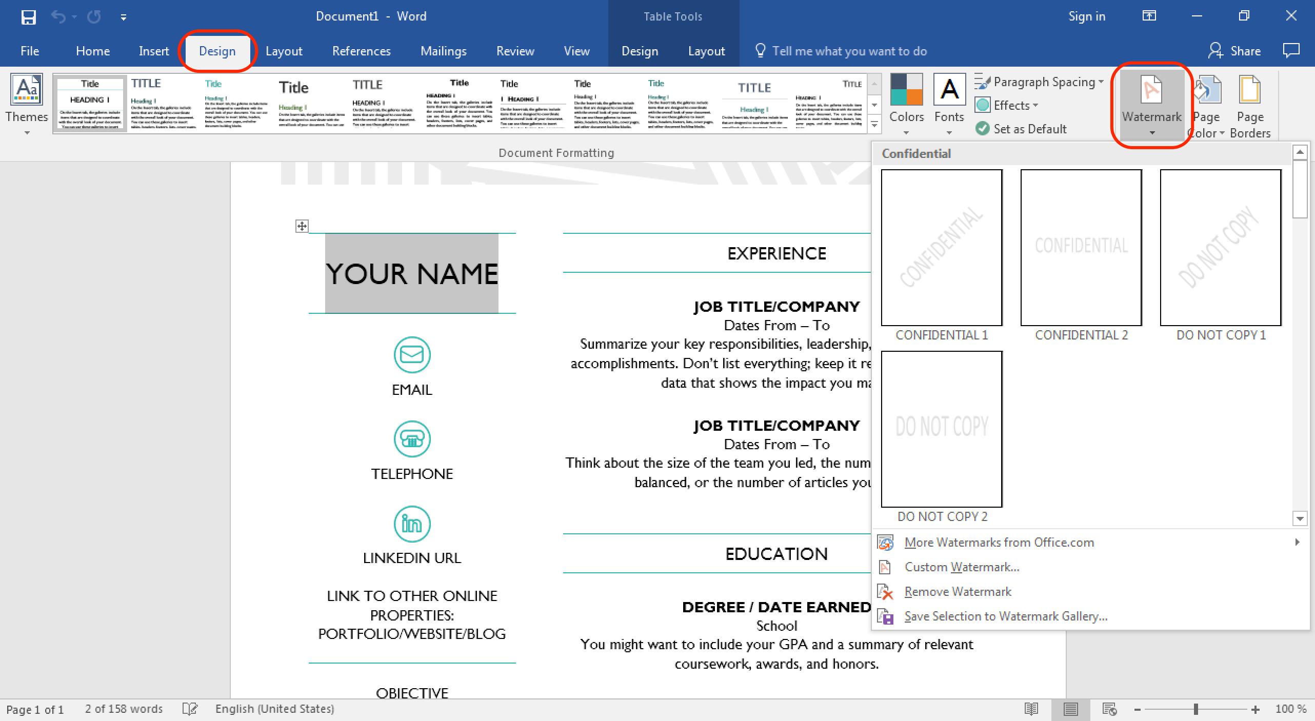 Wasserzeichen in Word Dokument einfügen | PMlabs Blog